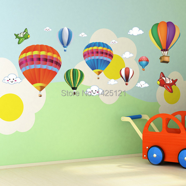 DIY Cartoon hot balloon vinyl wall stickers for kids rooms boys girls home decor child sticker wall decals home decoration(China (Mainland))