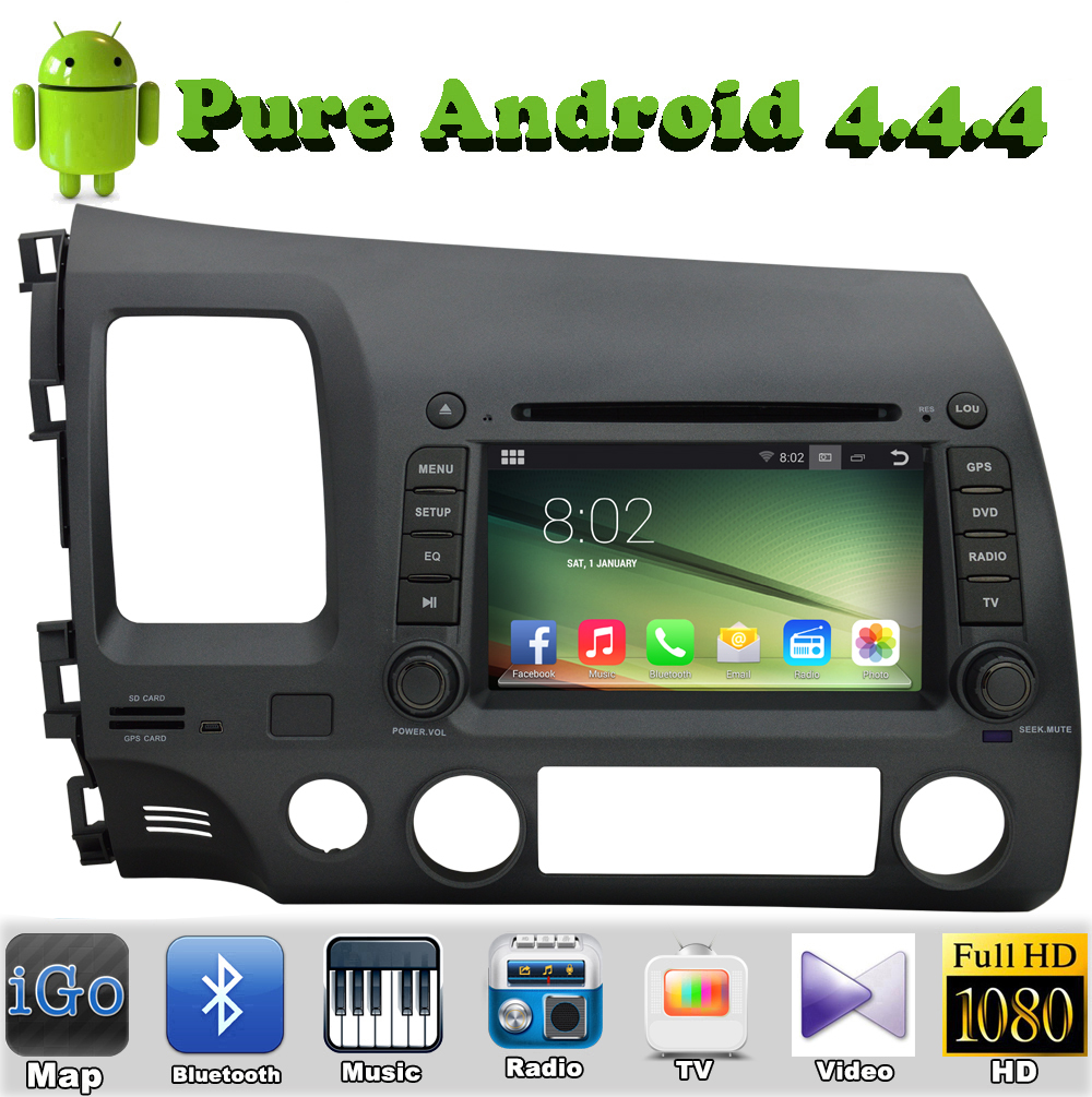 Pure Android 4.4.4 Car DVD GPS For Honda Civic 2006-2011 With HD Capacitive Touch screen 1.6G Dual Core CPU 1G RAM DDR3 Stereo(China (Mainland))