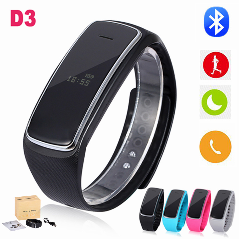 D3 Smart Bluetooth Waterproof Bracelet Fitness Tracker Men Women Smartband For Smartphone Call/SMS/APP Reminder Pedometer LCD(China (Mainland))