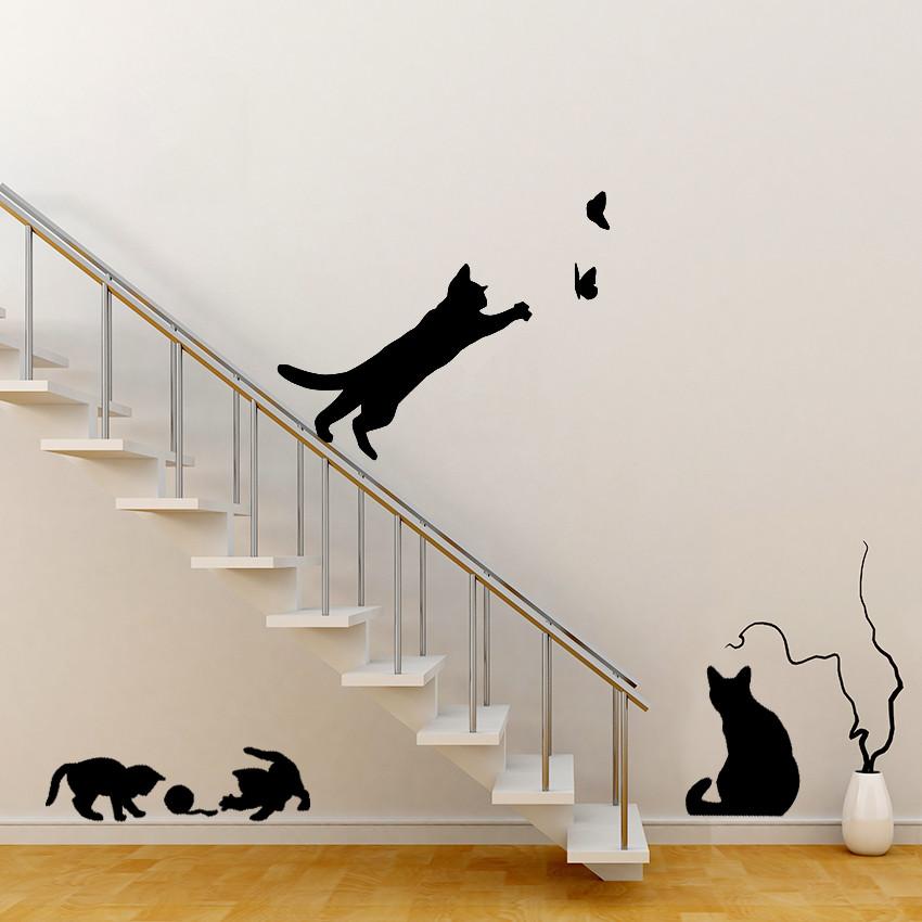1pcs Hot Wall Sticker Cats Play Butterfly Decorative