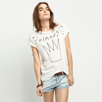Retail 2013 New princess letter print ladies'  t shirt white pattern t-shirt S M L XL 4sizes all in stock