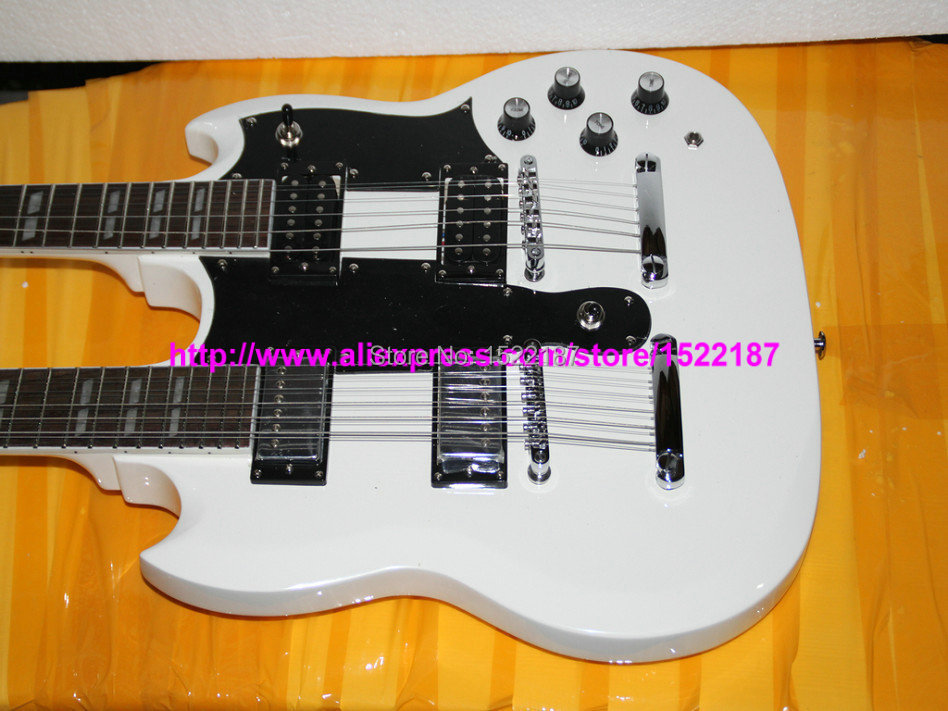 Custom Double Neck Guitars white 6 Strings Guitar AND 12 Strings Guitar Custom 1275 More color free shipping(China (Mainland))