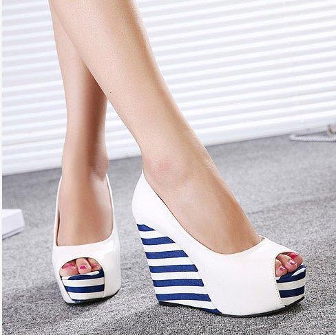 2015 Fashion color block stripe decoration japanned leather ultra high heels wedges platform Peep Toe women shoes 4-60 - Like it! store