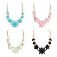 2015 Fashion bohemian jewelry Romantic rose flower  statement necklace Luxury Acrylic Rhinestone necklaces bijoux(China (Mainland))