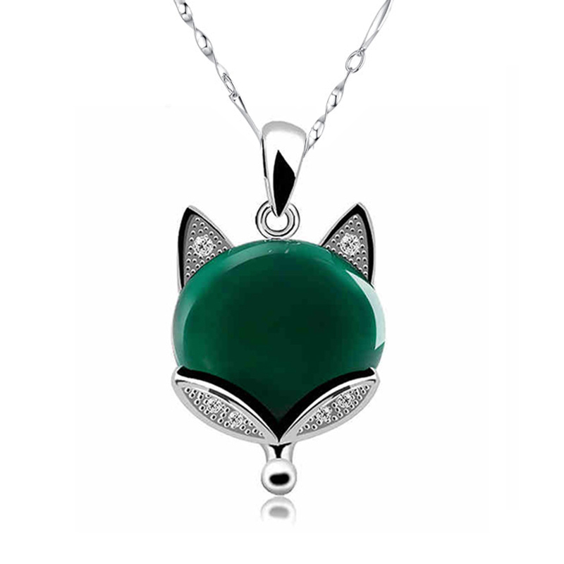 Bulk Wholesale Solid 925 Pure Sterling Silver Natural Gem Stone Green Onxy CZ Fox Necklaces & Pendants For Women Fashion Jewelry(China (Mainland))
