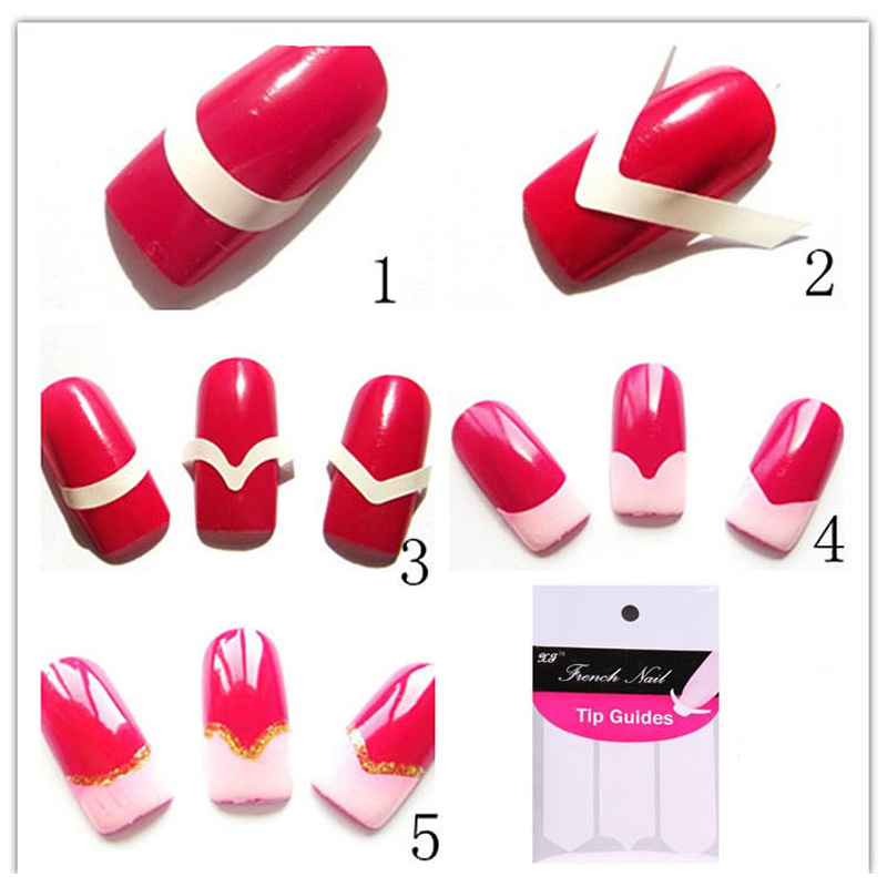 48pcs =1pack Nail Decoration Water Transfer Nail Sticker Nail Art Form Fringe Guides Sticker DIY French Manicure Design(China (Mainland))