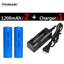 Buy 2Pcs Blue 18650 Batteries 3.7v 1200mah Rechargeable Lithium Li-ion Battery + 1pc NK-803C 18650 Charger US/EU Plug for $9.21 in AliExpress store