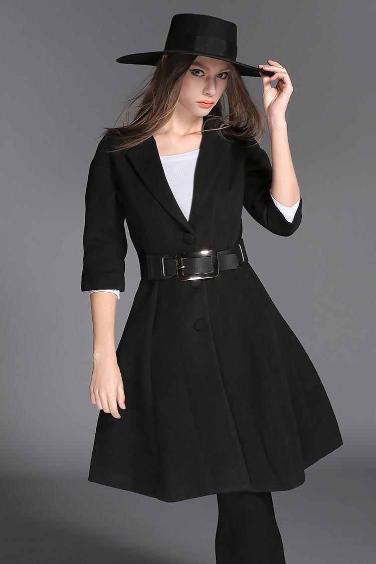 2015 New Winter Fashion Europe big brand wool coat elegant women black overcoat belt long coat manteau femme woll mantelОдежда и ак�е��уары<br><br><br>Aliexpress