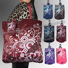 Big square pocket fabric shopping bag,Eco-friendly folding reusable Portable Shoulder handle Bag Polyester for Travel Grocery(China (Mainland))