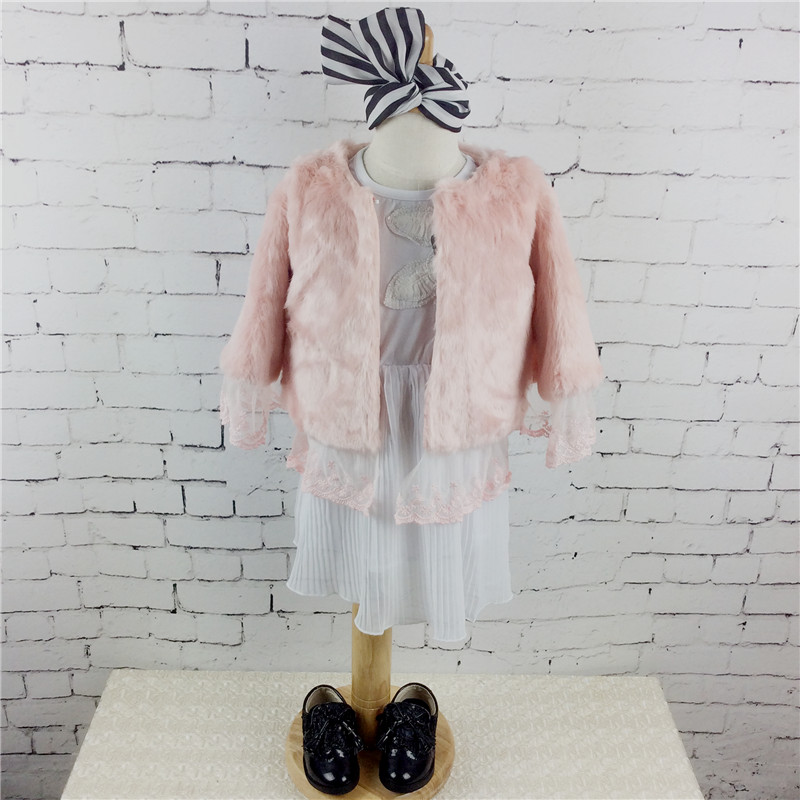 2016 Girls Jacket Winter Coat Pink Faux Fur Outerwear Children Clothing for Birthday Gift Girls Retail 1PC 112(China (Mainland))
