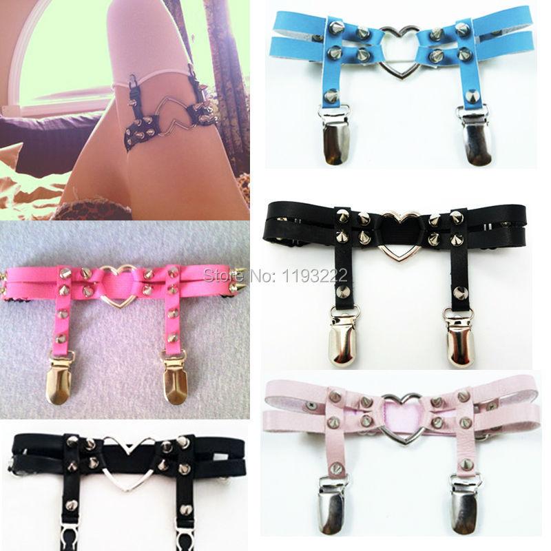 2 Style Big Heart Handmade Sexy Punk Gothic Sock Stocking Heart Garter Belt Double Row Studded Suspender Leg Ring
