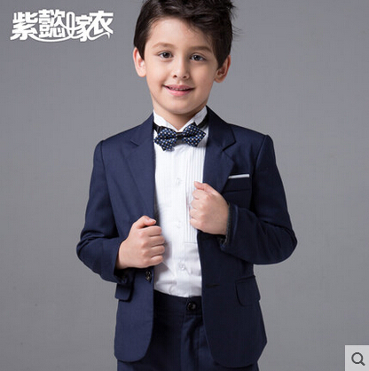 Fashion kids baby boys blazers suits formal blue clothing prom wedding casual spring summer costume flower boy children outfit(China (Mainland))