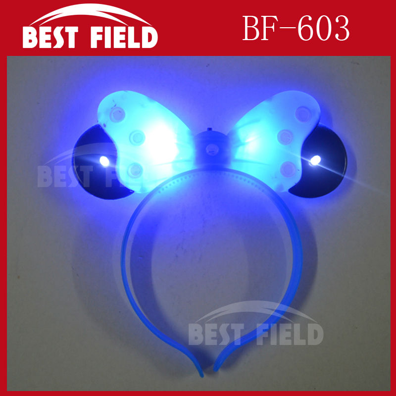 Free Shipping 12pcs/lotLED bowknot headbopper headwear mickey mouse party led Mickey Mouse Hairband kids birthday party supplies(China (Mainland))