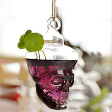 Hot New Clear Glass Skull Shape Flower Plant Stand Hanging Vase Hydroponic Container Home Office Wedding Decor(China (Mainland))