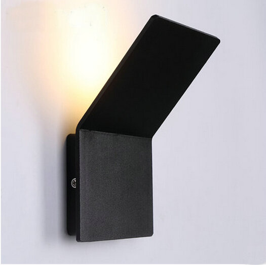 Фотография 4W Led Wall Lamp White/Black Aluminum Light in the bedroom 110-220V Nordic Square ROHS/CE Free Shipping