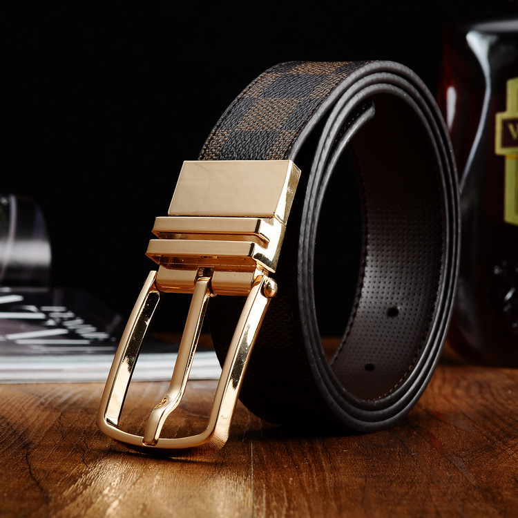 2015 New style Best Quality real genuine Leather Mens black designer Belts For Men Luxury Pin Belts Alloy Buckle cinto masculino(China (Mainland))