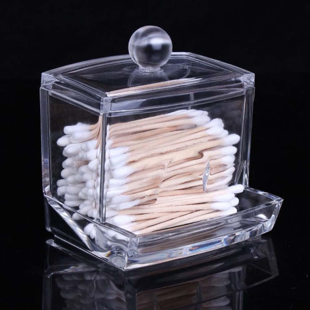 New Creative Clear Acrylic Storage Holder Box Transparent Cotton Swabs Stick Cosmetic Makeup Organizer Case High Quality(China (Mainland))