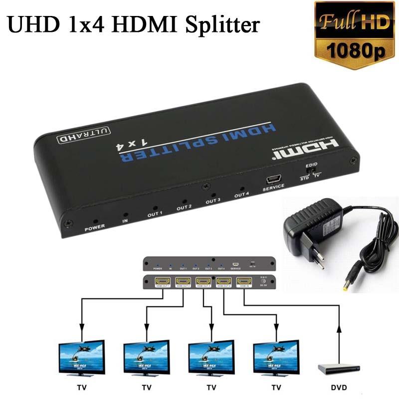 1x4 UHD V2.0 HDMI Splitter HDMI audio video switcher converter Support 3D 1080p 4K*2K@60Hz for HDTV DVD(China (Mainland))