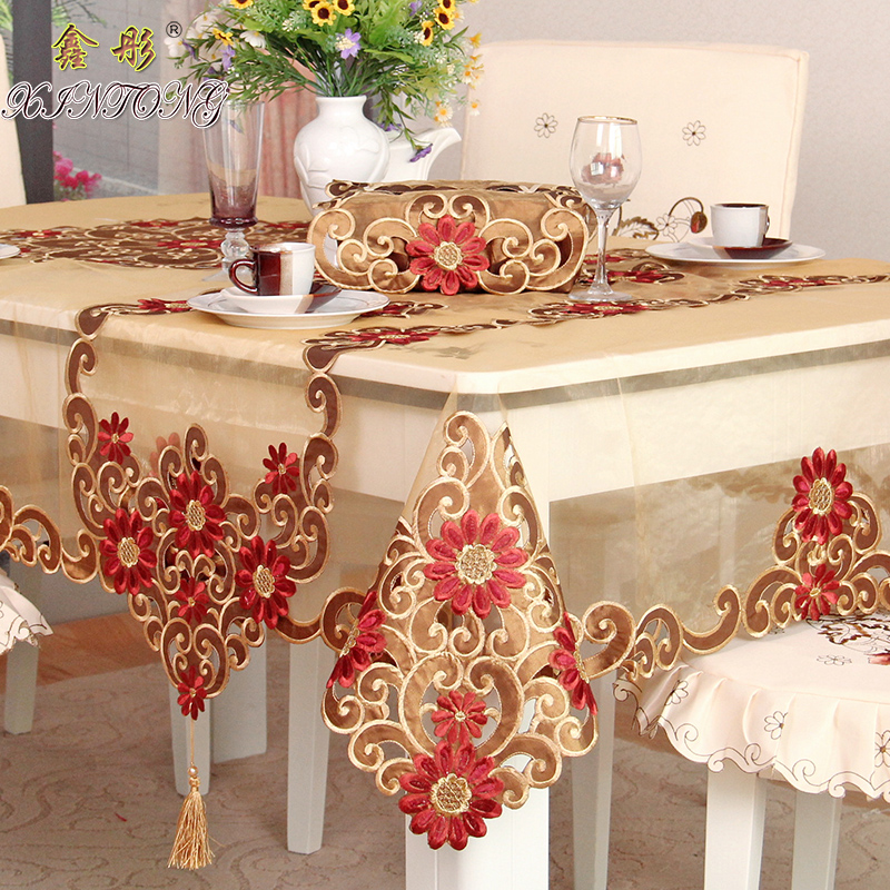 europe pastoral luxury gauze embroidered table cloth home
