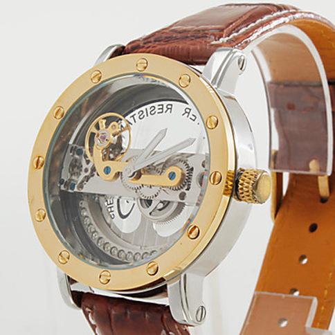 Luxury Mens Automatic Mechanical Watch ShenHua Tag Tourbillon Skeleton Hand/Self-Wind Leather Strap Hot Gift Famous Brand Clock(China (Mainland))