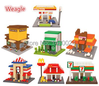 2015 NEW Wholesale Weagle Blocks Architecture DIY Building Toys Gas Station Plastic Mini Blocks Children Gifts Kits Toy(China (Mainland))