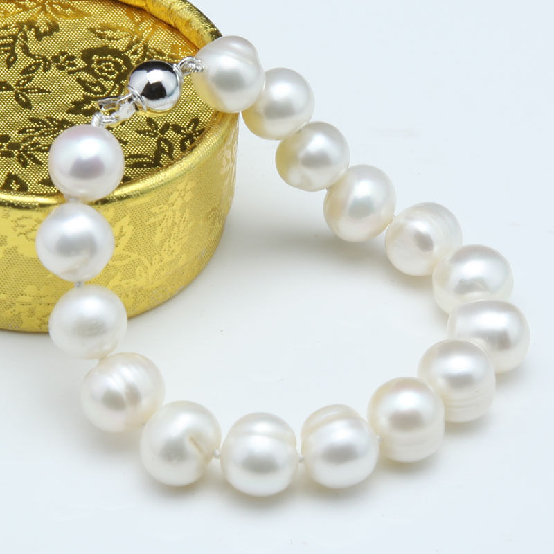 FREE shipping&gt;11-12mm White black Freshwater Cultured Pearl Bracelet<br><br>Aliexpress