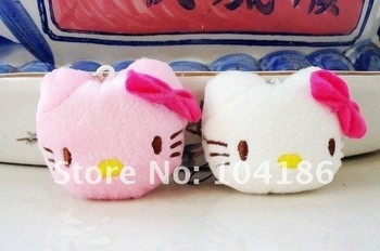 40PCS/LOT Plush Stuffed TOY ; Kawaii 4CM  Hello Kitty DOLL Cell Mobile Phone Strap Charm Pendant Chain Lanyard BAG KEY Chain