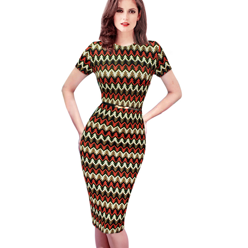 2015 Womens Celebrity Belted Elegant Vintage Pinup Long Sleeve Tunic Business Work Party Bodycon Pencil Sheath Wiggle Dress 168(China (Mainland))