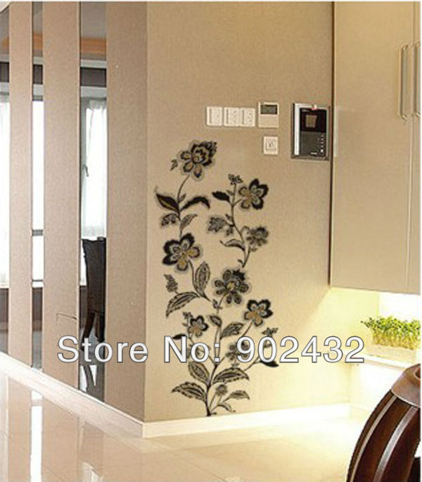 Black and gold flowers removable wall decals stickers for Room decor 5d wall stickers