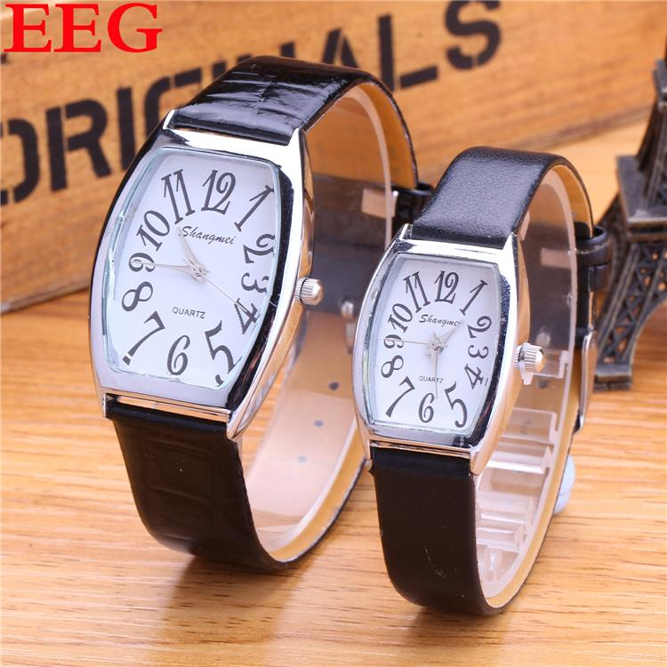 New Style Fashion Quartz Watch Leather Strap Casual Watch Rectangle Dial Couples Watch Women Men Lovers Gift Clock(China (Mainland))