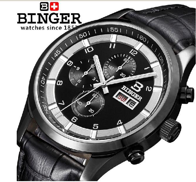 Switzerland watches men luxury brand Wristwatches BINGER Quartz full stainless leather strap steel waterproof 300M BG-0403-4(China (Mainland))