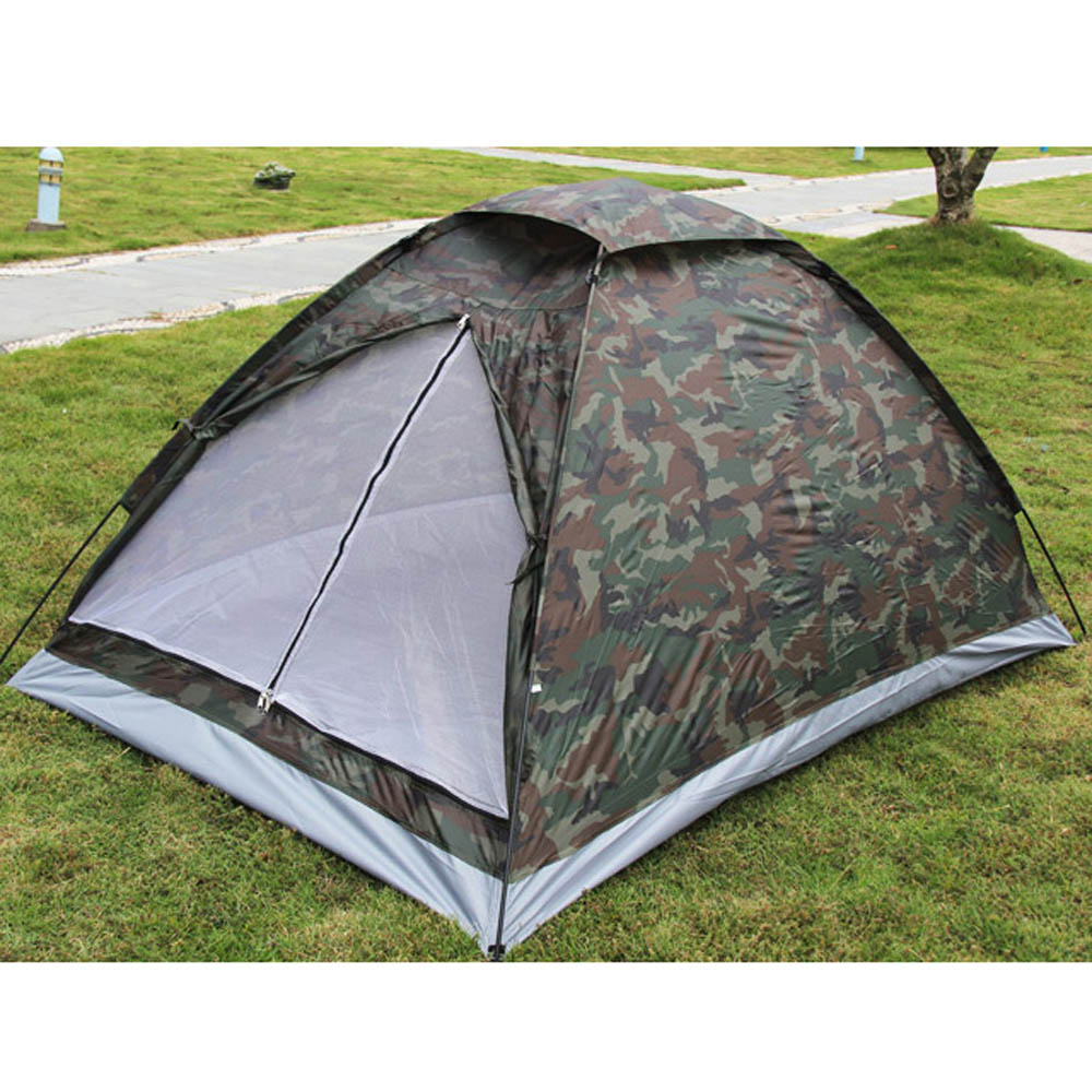 Camping Tent for 2 Person Single Layer Outdoor Portable Camouflage polyester fabric Tents PU1000mm Carry Bag(China (Mainland))