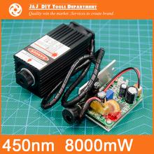 450 nm, 8000 mW 12V High Power Laser Module have TTL,Adjustable Focus Blue Laser module. DIY Laser engraver machine accessories.