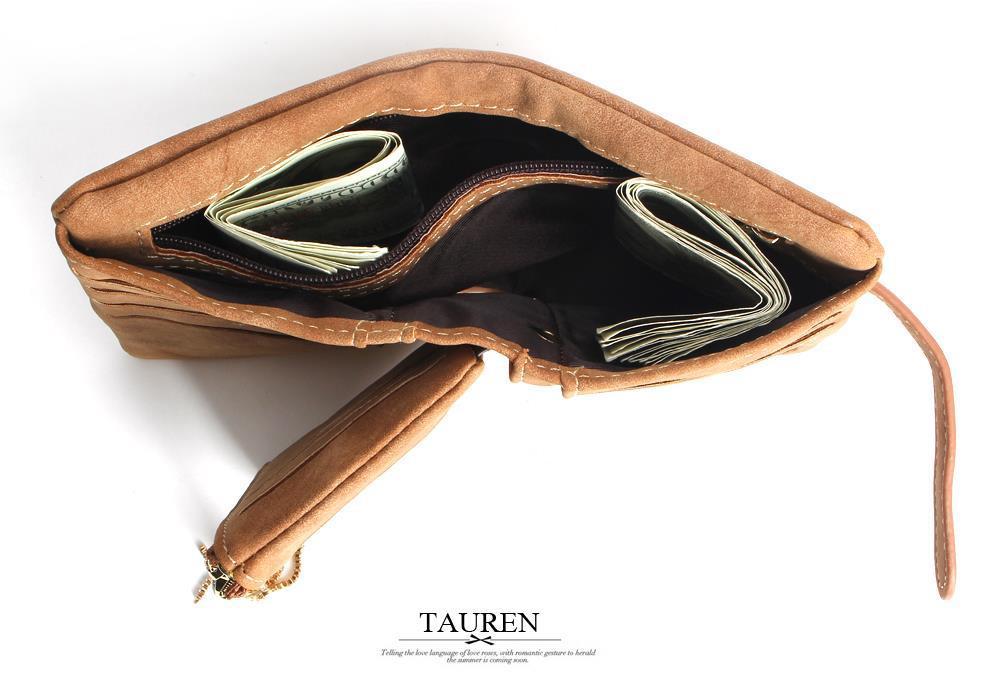 Hot!! 2018 New Fashion Women Wallets Drawstring Nubuck Leather Zipper Wallet Women's Short Design Purse Retro Tassels Clutch