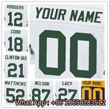 100% Stitched With Customized #12 Aaron #18 Randall #21 Ha Ha #27 #52 Clay #87 Jordy Men's White Green Navy Jersey(China (Mainland))