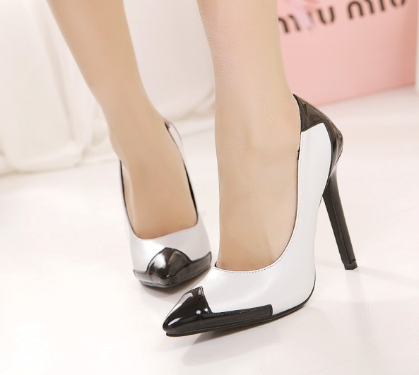 Black And White Shoes High Heels - Qu Heel