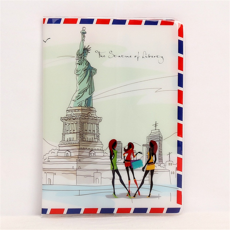 Statue Liberty Passport Holder Thin PVC Leather New York Travel Passport Cover Credit Card ID Card Holder Size:10*14CM