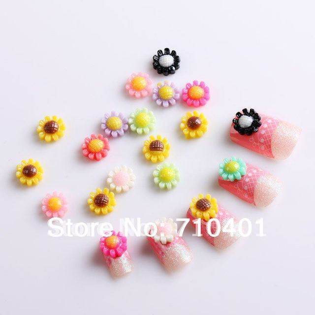 FREE SHIPPING Wholesale 100pcs Colorful Sunflower Acrylic 3D Bow Tie Slice UV Gel Polish Nails Art DIY Decoration Manicure Tools
