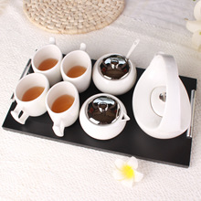 Ceramic Coffee Cup Set Stainless Steel Filter Business Gifts Exquisite Tea Cups Teapot With Wood Tray 7 Pieces One Set