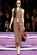 Celebrity Runway Designer Dress Women's High Quality Elegant Sleeveless Turn Down Collar Beading Geometry Printed Dress + Pants(China (Mainland))