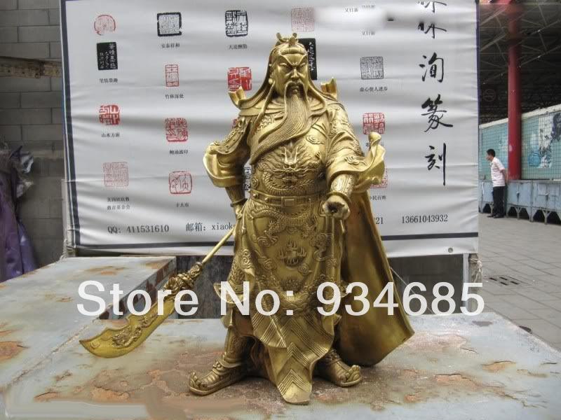 Chinese Brass Copper Dragon Guan Gong GuanYu warrior Statue(China (Mainland))