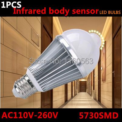 High light 5730SMD 5W 7W E27 AC90V-260V warm white/White Light Body Infrared Sensor PIR Motion Sensor Detection LED Lamp Bulb(China (Mainland))