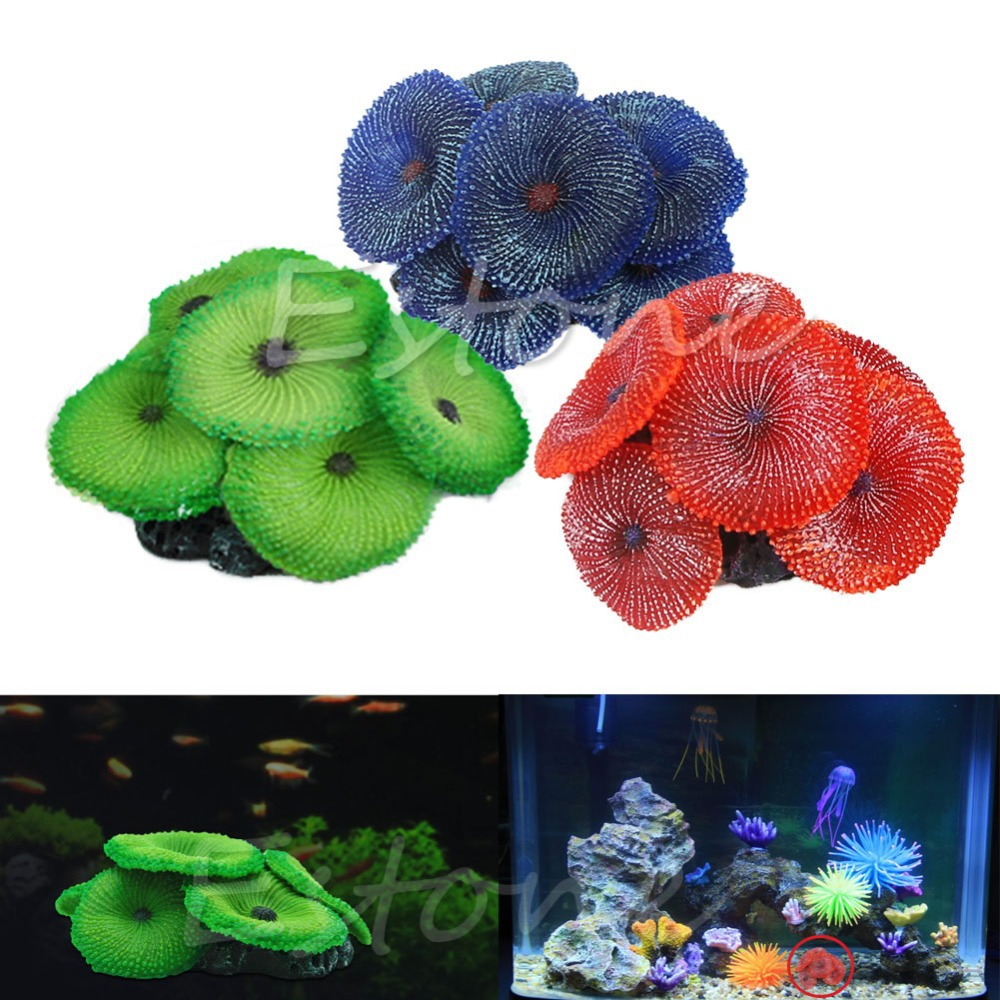 New Aquario Decoration Artificial Coral Plant Fake Soft Disc Ornament Decoration For Aquarium Fish Tank Green Blue Red 3 Colors(China (Mainland))