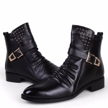 Cool Fashion Pleated Leather Motorcycle Ankle Boots Mens Punk Rocky Shoes Rivet Studded Buckle Strap Zip Spring Autumn Trendy(China (Mainland))