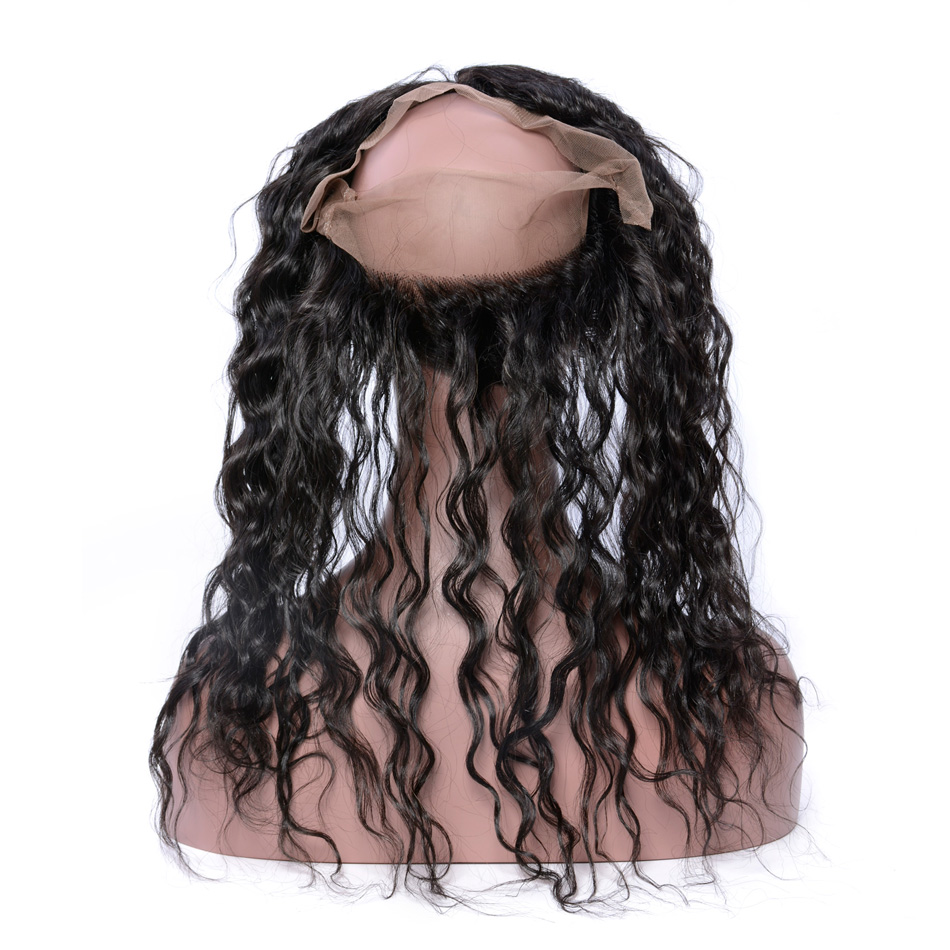 Iwish Hair Hand Tied Brazilian Water Wave Hair Pre Plucked 360 Lace Frontal with baby hair 100% Remy Human Hair Frontal Closure