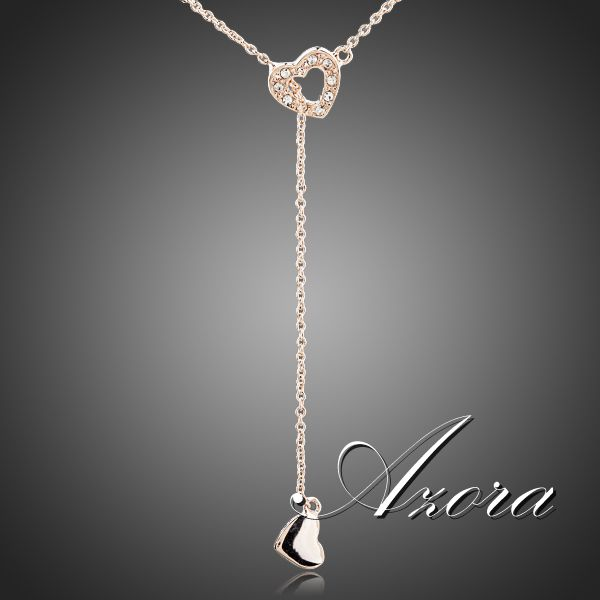 AZORA Heart Linked To Heart 18K Rose Gold Plated Stellux Austrian Crystal Jewelry Pendant Necklace TN0082