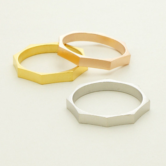 Wholesale 30pcs/lot Geometric Jewelry Simple Hexagonal Ring 18 k Gold Plated Midi Stacking Rings For Women and Men(China (Mainland))