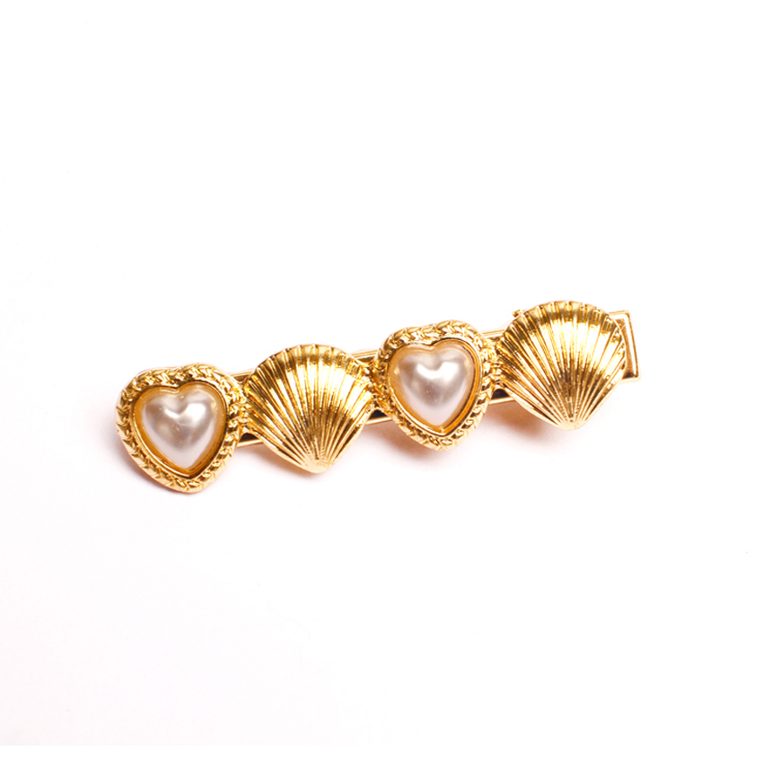 Fashion korean cute heart pearl hair barrette gold shell for Decor jewelry