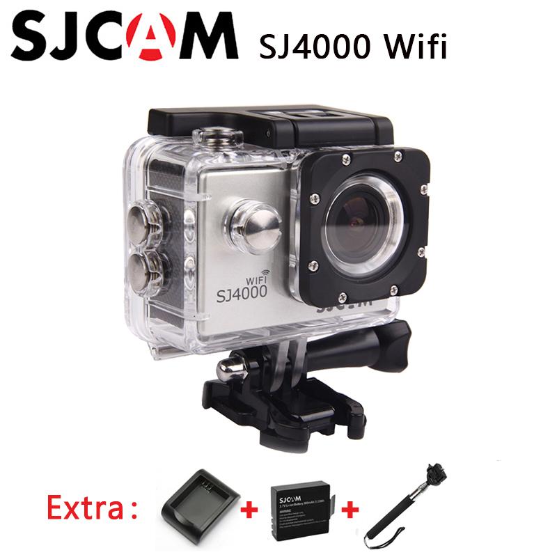 100% Original SJCAM SJ4000 WiFi Sport Action Camera 1080P full HD Waterproof Camera+Extra 1pcs battery+Battery Charger+Monopod(China (Mainland))