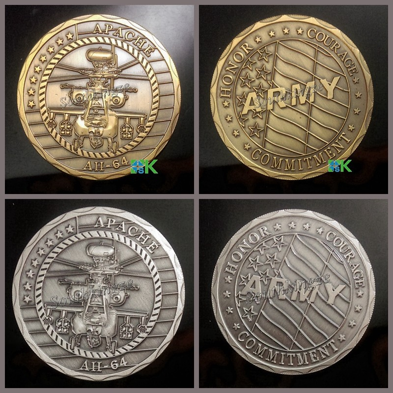 2 pcs/lot Free Shipping Mixed Apache AH64 Antique Silver Plated and Gold Plated Army Challenge Coins(China (Mainland))